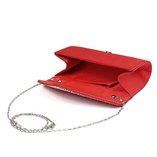 Envelope Shoulder Clutch Womens Colours Bag Red Diamonte Fashion 11 Purse Rq6TdRx