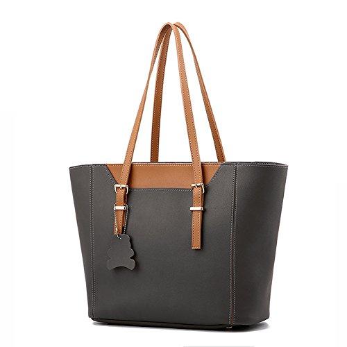 [CLJ Women's PU Leather Shoulder Bag Top Handle Handbag 2-in-1 Bucket Tote Bag with Pouch (Dark Grey)] (One Utility Bucket Combo)