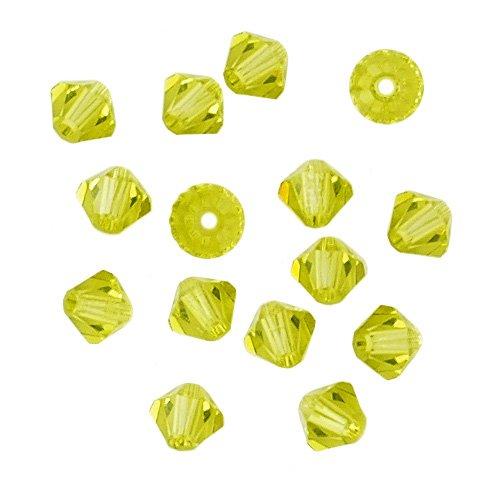 100 pcs 4mm Swarovski 5301 Crystal Bicone Beads, Light Olivine, SW-5301
