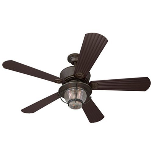 - Merrimack 52-in Antique Bronze Downrod Mount Indoor/Outdoor Ceiling Fan with Light Kit and Remote