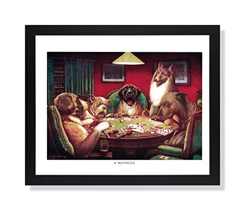 Solid Wood Black Framed Coolidge Dogs Playing Poker at Table A Waterloo #5 Animal Pictures Art Print