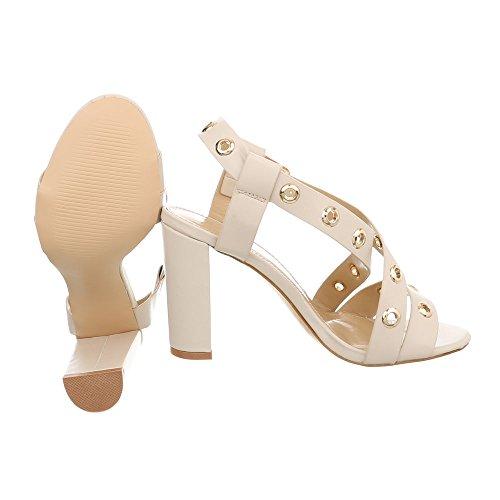 Beige Ital Sandaletten Schnalle High Heel Pump Damenschuhe Design Heels amp; 3839 Sandalen AqAwrOxvtf