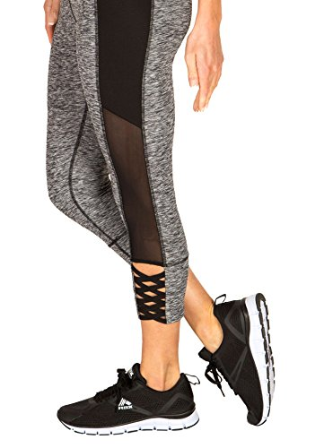 RBX Active Women's Capri Legging with mesh Inserts and X Straps
