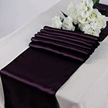"""LIVA HOME CHRISTMAS HOLIDAY PACK OF 10 12X108"""" SATIN TABLE RUNNERS FOR WEDDING BENQUOTE DECORATION (10, PLUM)"""