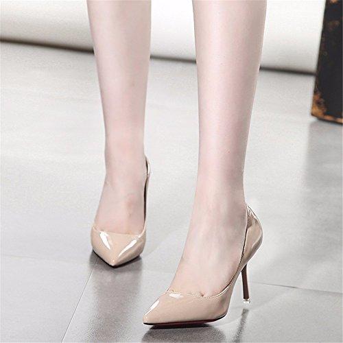 HXVU56546 Sugerencia Mujer Zapatos De Tacón Fino Con La Primavera Y Otoño Newetiquette Pintado Brillante-Solo Zapatos De Cuero Raw Color