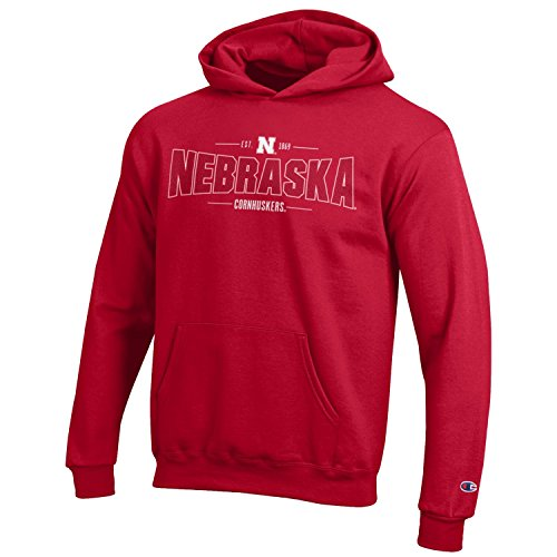 Champion NCAA Youth Long Sleeve Fleece Hoodie Boy's Collegiate Sweatshirt Nebraska Cornhuskers Medium ()