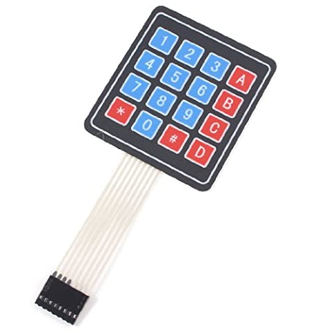 Uxcell Array 4x4 16 Keys 8Pin Flex Flat Ribbon Cable Numeric Membrane Switch Keyboard - Flat Flex Ribbon Cable
