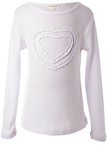 (Ipuang Big Girls' Heart-Shaped Long Sleeve T-Shirt 8 White)