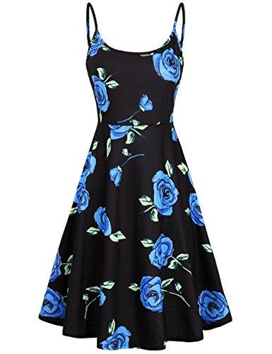 FANVOOK Blue Rose Dress,A Line Fit Flare Skater Dresses Blue Floral - Dress Check Printed