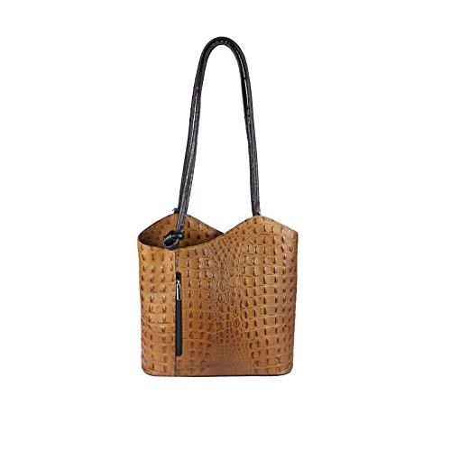 OBC MADE IN ITALY ledertasche-rucksack AVESTRUZ Repujado Bolso Mujer 2 en 1 BOLSA BOLSO de Hombro Bolso de hombro con asas Tableta/iPad aprox. 10-12 pulgadas 27x29x8 cm (BxHxT ) Cognac-Schwarz (Kroko)