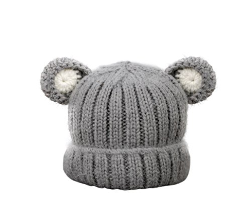 Jon Senkwok Cable Knit Hats For Kids Baby Boy Girl Soft Warm Bear Animal Beanie Hat (Grey)