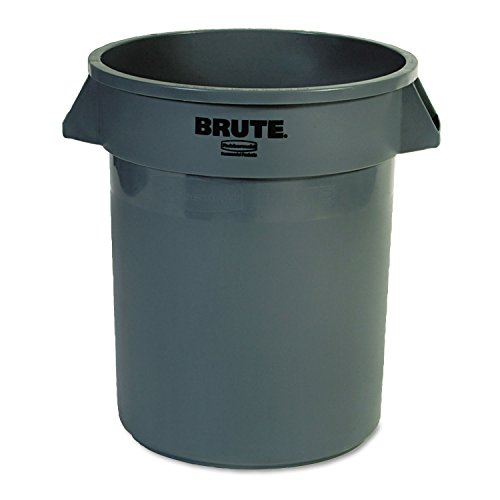 Rubbermaid Commercial 262000GRA Round Brute Container, Plastic, 20 gal, Gray