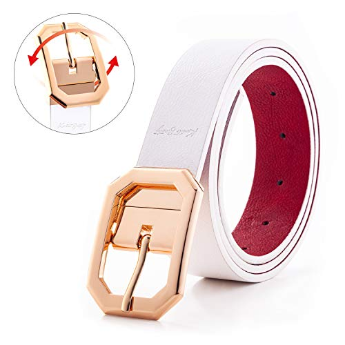Spring Leather Belt for Women Dress Reversible Fashion Jeans Shiny Gold Rotated Buckle Cowgirl Corset Belt Solid Band