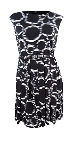 Alfani Women's Belted Pleated A-Line Dress Ikat Circles Black & White L