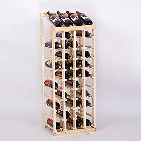 L&BW Botellero Rojo Madera Pino 44 Botella Tapa De Mesa. 3 Manchas ...