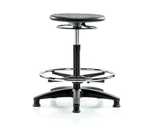 (PERCH Polyurethane Industrial Stool Heavy Duty with Footring and Stationary Caps, Counter Height)