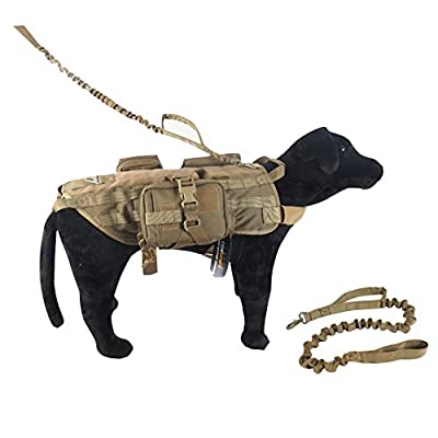 OneTigris Tactical Dog Training Bungee Leash with Control Handle Quick Release Nylon Leads Rope