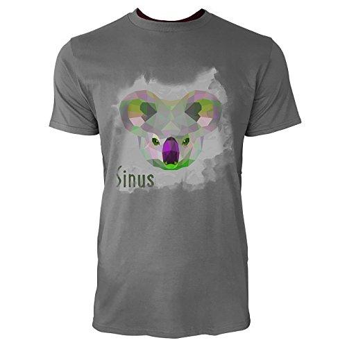 SINUS ART ® GeometrischerKoalabärenkopf auf grauem Hintergrund Herren T-Shirts in Grau Charocoal Fun Shirt mit tollen Aufdruck