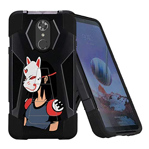 TalkingCase Phone Case for LG Stylo4,Stylo4 Plus,Black Premium Double-Layer Armor Case,Ruggedized with Kickstand,Girl in Japanese Mask Print, Designed and Printed in USA -