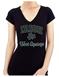 St. Patrick's Day IRISH SHAMROCK HOT SPRING Rhinestone/stud Womens T-Shirts