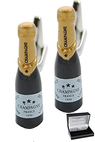 COLLAR AND CUFFS LONDON - Fun HIGH QUALITY Champagne Bottle Cufflinks - Solid Brass - Celebrate in Style - Black and Gold Colours - Presentation Gift Box Included - Links Of London Gioielli
