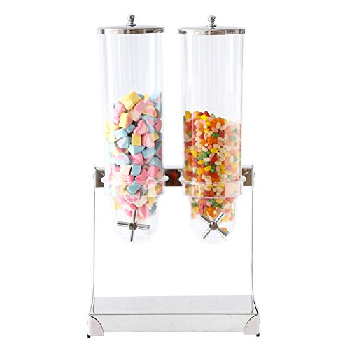 Cereal and Dry Food Dispenser Double Acrylic Chamber Airtight with Stainless Steel Tray for Home Kitchen Countertops, Breakfast, Candy, Pantry Pets food