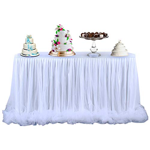 White Tulle Table Skirt 9ft Rectangle or Round Dining Tables Skirt with Long Fluffy Mesh for Bridel Baby Shower Wedding Birthday Party Decor ( 3 Yards)]()