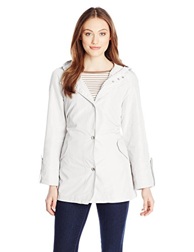 Anne Klein Outerwear - Anne Klein Women's Hooded Raincoat, Sea Salt, Large