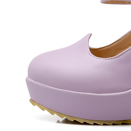 AmoonyFashion Womens Round Closed Toe Hook and Loop Pu Solid High Heels Pumps-Shoes Purple ZyJi0Qr5m