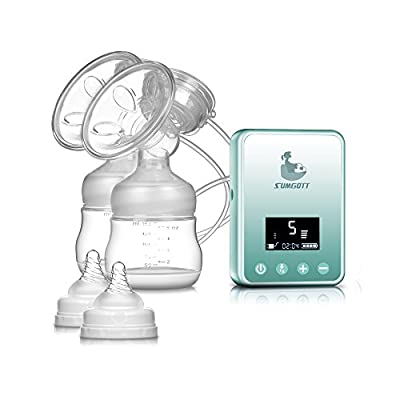 Electric Breast Pump - SUMGOTT Rechargeable Digital LCD Display Dual Silicone Breastfeeding Pump by LiYiCUB