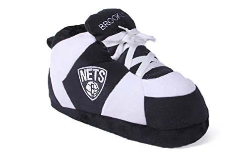 BNE01-3 - Brooklyn Nets - Large - Happy Feet Mens and Womens NBA Slippers