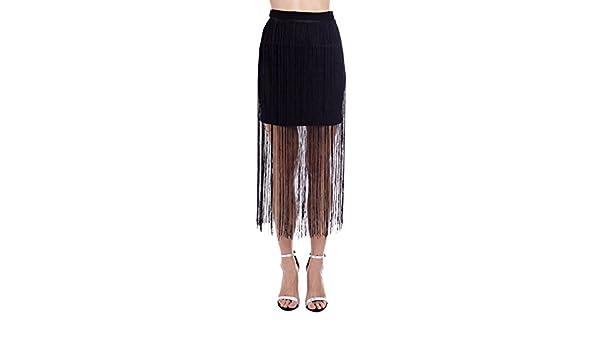 Q2 Mujer Falda negra con flecos - XS - Negro: Amazon.es: Ropa y ...