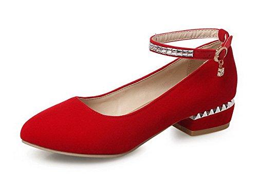 AllhqFashion Mujer Puntera Redonda Puntera Cerrada Mini Tacón Esmerilado Sólido Hebilla De salón Rojo