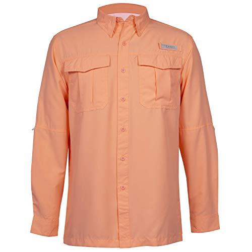 HABIT Men's Belcoast Long Sleeve River Guide Fishing Shirt, Spiked Peach, 3X-Large