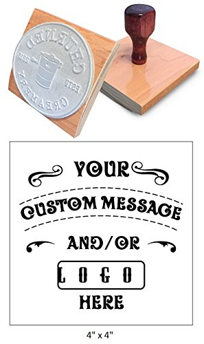"4"" x 4"" Extra Large Custom""Rocker Mount"" Wood Hand Rubber Stamp with Wooden Handle"