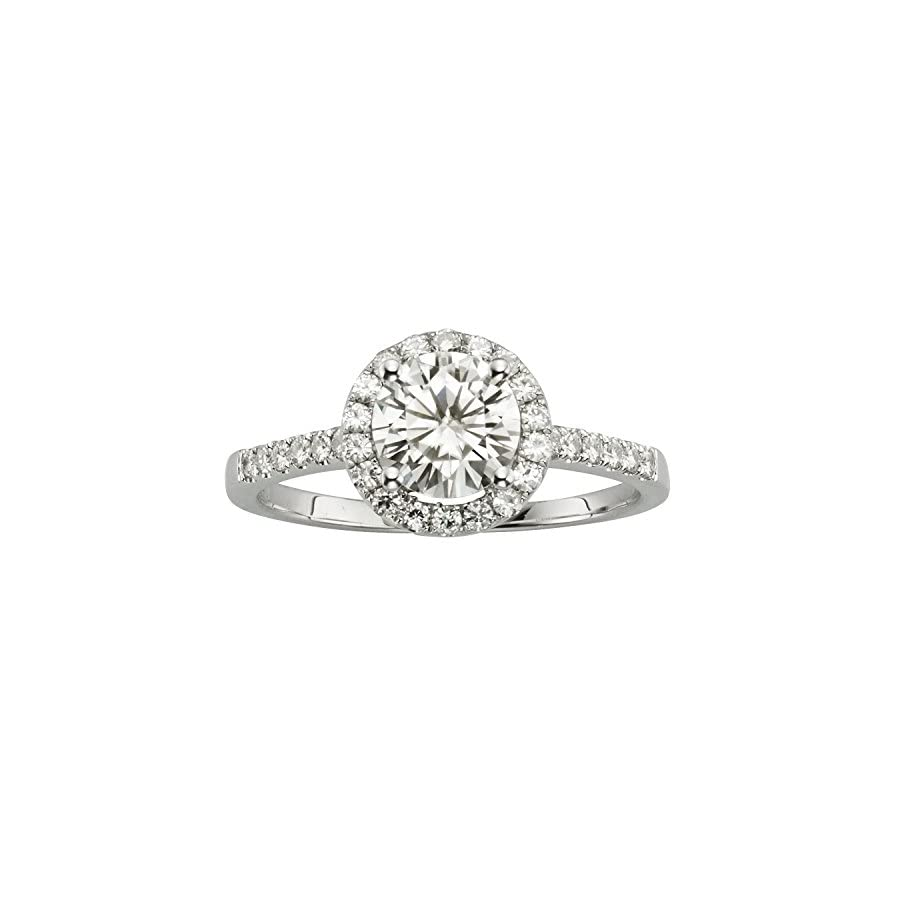 Forever Brilliant White Gold 6.5mm Moissanite Halo Engagement Ring, 1.30cttw DEW by Charles & Colvard