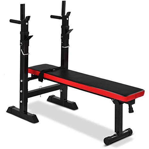 GYMAX Weight Bench Adjustable, Foldable Lifting Bench with Barbell Rack for Full Body Exercise, Multi-Function Workout Incline Bench for Commercial and Home Use, 440 Weight Capacity (Black)