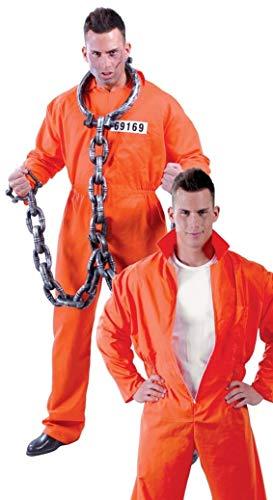 Mens Death Row Prisoner Con Convict Cops & Robbers Orange Jumpsuit Workman Fancy Dress Costume Outfit (X-Large) -