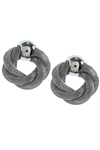 Large Mesh Earrings (KARMAS CANVAS LARGE TWISTED WOVEN MESH EARRINGS (Silver))