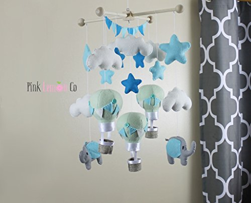 Baby Mobile- Elephants and hot air balloon mint and blue by Pinklemonco