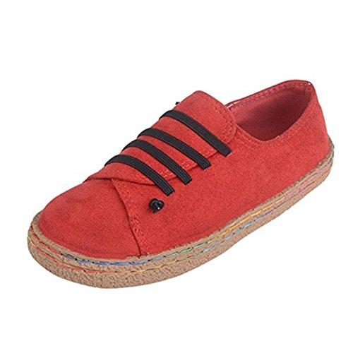 Suède Daim Chaussures Derby Lacets Baskets à Toile Plates Ruiying Rouge Flat Bottines Femme xIHvnp