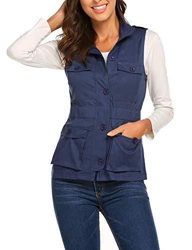 Wildtrest Women's Lightweight Jacket Outwear Jackets Coats Military Coat Women Navy Blue S