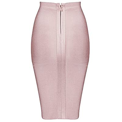 Hego Women's Solid Color Wear to Work Bodycon Bandage Knee-Length Skirt XL H4242 at Women's Clothing store