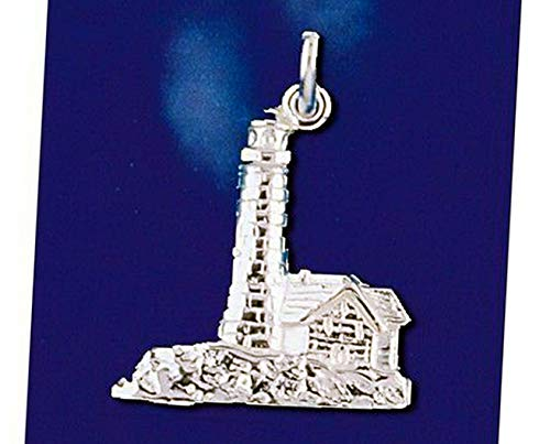 Sterling Silver Light House Pendant Maritime Nautical Ship Boat Charm Solid 925 Vintage Crafting Pendant Jewelry Making Supplies - DIY for Necklace Bracelet Accessories by CharmingSS from CharmingStuffS