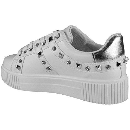 Femmes De Formateurs Lacée Course forme 3 Taille 8 La Chaussure Fort Plate Jusqu'à Blanc Look Espadrilles Cloutés Confortables Dames t6wwq0p4