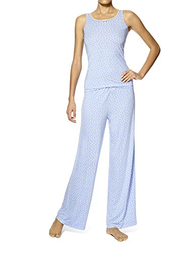 HUE Women's Tank/Pant Pajama Set, Flower/Dot, Large