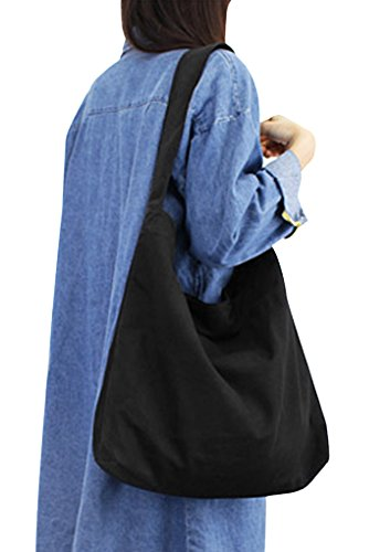 JINTN Women Girls Casual Canvas Shoulder Bags Hobo Large Size Sling Messenger Bag Clutch Bags Tote Handbag for School Traveling Shopping