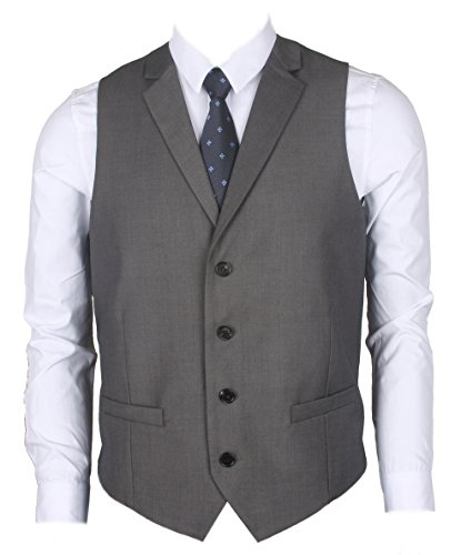 Ruth&Boaz Men's 2Pockets 4Buttons Business Tailored Collar Suit Vest (XXL, GRAY) ()