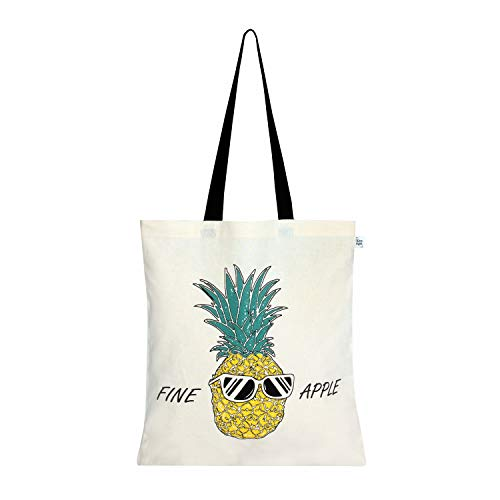 EcoRight Cotton Canvas Fine Apple Pineapple Women Tote Bag Reusable Eco-friendly Printed Totes for Shopping School Work Gym Travel Beach, 15 x 16 inches