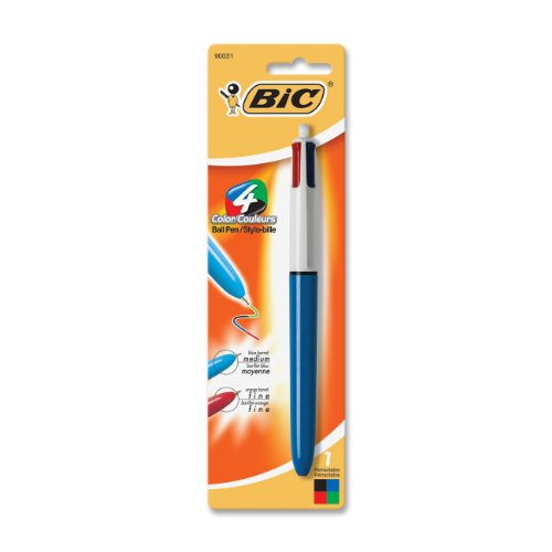 BIC Medium Point Ball Pen, 4 Colors, Assorted Ink, 1 per Pack (MMXP11)